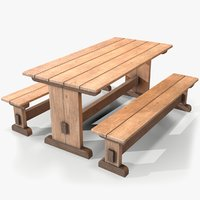 ready wooden table bench 3D