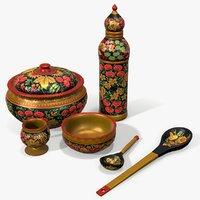 ready hohloma wooden tableware 3D model