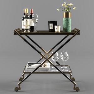 3D bar cart accessories wine glass