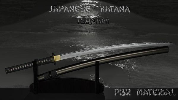 3D model katana sword weapon