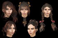 Set woman hairs 5 types