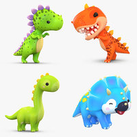 cartoon dinosaur pack 3D