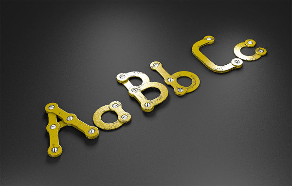abc rusty metal alphabet letters 3D model