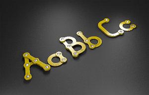 abc rusty metal alphabet letters 3D model