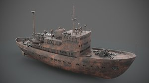 3D old rusted abandoned vessel