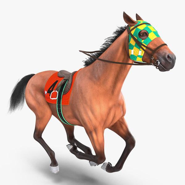 racehorse gallop pose horse 3D model