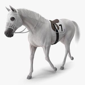 3D white racehorse gait pose