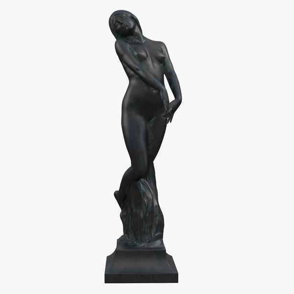 3D model bronze woman statue
