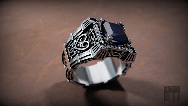 men ring stones patterns 3D