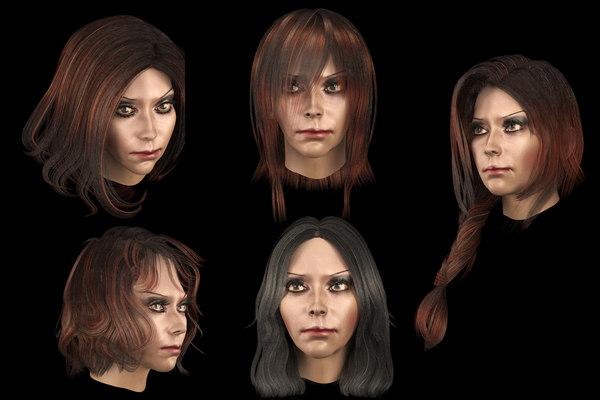 hair hairstyle female 3D model