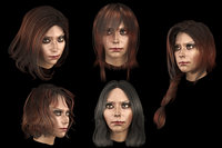 Set female hairstyles 5 types