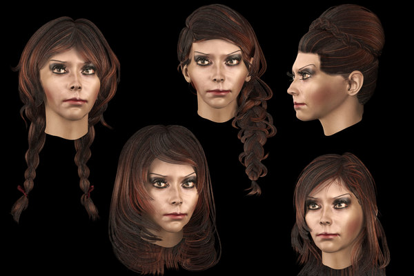 set hairstyle 5 types 3D model