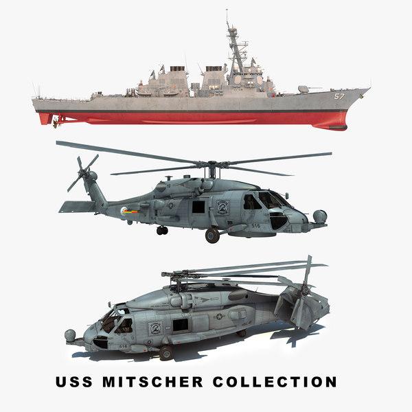 uss mitscher ddg helicopter 3D model