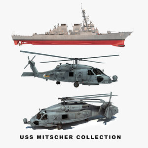 uss mitscher ddg helicopter 3D model