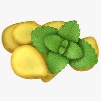 realistic ginger slice mint 3D model