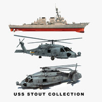 3D uss stout ddg helicopter model