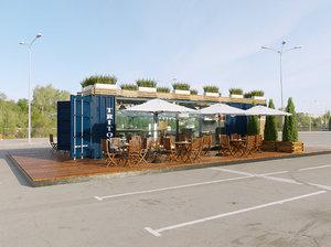 cafe container scene interior model