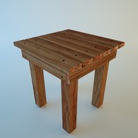 wood stool 3D