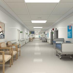 3D modular hospital hallway model