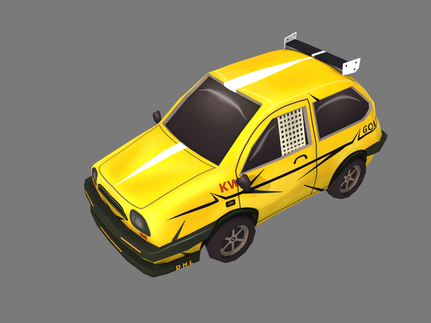 yellow cartoon car 3D