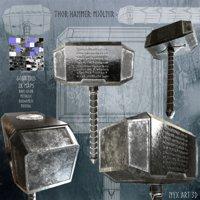 3D thor hammer mjlnir