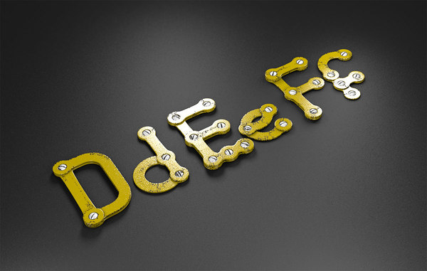 3D def rusty metal alphabet letters model