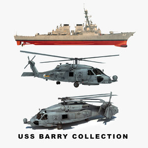 3D uss barry ddg helicopter
