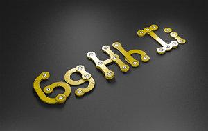 ghi rusty metal alphabet letters 3D