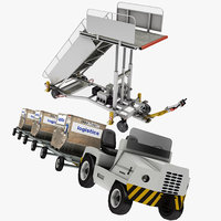 3D airport baggage truck model