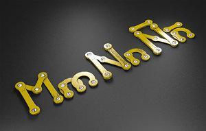 3D mn rusty metal alphabet letters