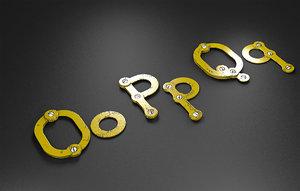 3D opq rusty metal alphabet letters