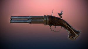 antique 3 barrel flintlock pistol model