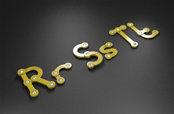 rst rusty metal alphabet letters 3D model