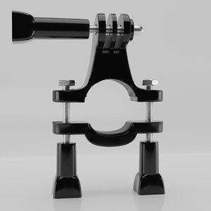 3D model bike handle mount action