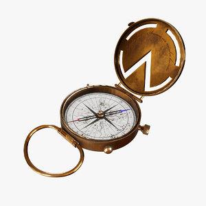 3D vintage old compass pbr model