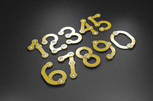 3D rusty metal numbers letters