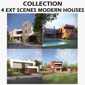 ext scenes modern houses 3D