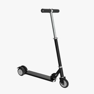 3D model kick scooter black