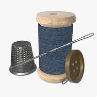 needle thread button 3D model