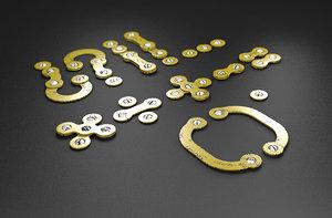3D rusty metal symbols numbers