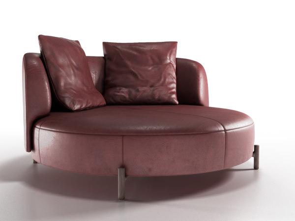 3D modern leather sofa amalia