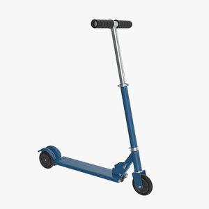 3D kick scooter blue