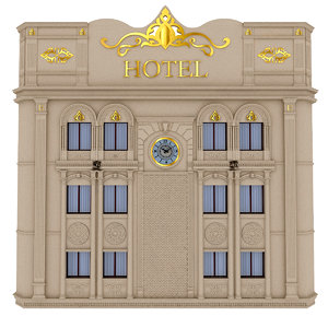 3D model classical hotel building