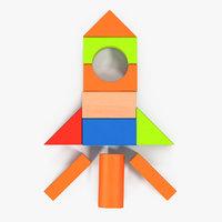 3D rocket wooden building blocks model