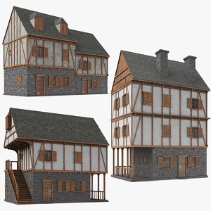 3D real medieval houses