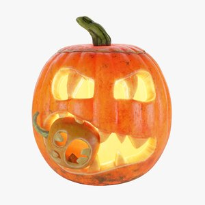 3D model halloween pumpkin eating