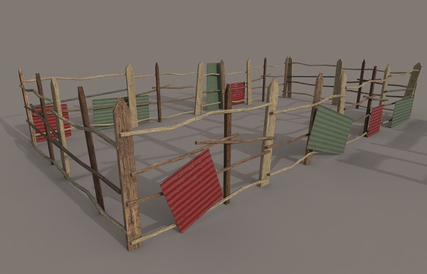 different wooden fence pbr 3D
