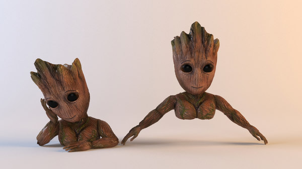 3D model flower pot groot