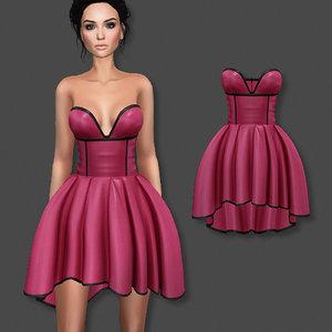 strapless dress 3D model