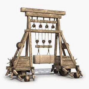 3D model wooden crane medieval